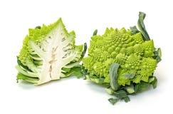 两绿色新鲜的罗马式花椰菜 库存照片