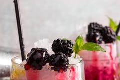 两份莓果饮料特写镜头用在灰色的薄菏弄脏了背景 饮料用酸柠檬、新鲜薄荷和甜点 图库摄影
