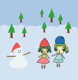 两gir和雪人在圣诞节背景中 免版税库存图片