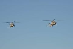 两helicoptor在飞行中在安扎克天黎明 库存图片