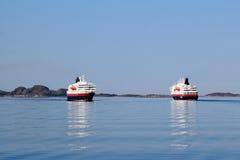 两Hurtigruten横穿 免版税图库摄影