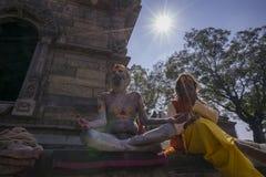 两Pashupatinath寺庙的圣洁者画象  免版税库存照片