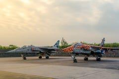 两SEPECAT捷豹汽车快速的喷气式歼击机在早晨光站立 库存照片