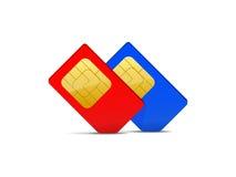 两sim卡片红色和蓝色 免版税库存图片