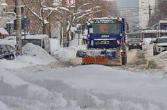 严冬在布加勒斯特,罗马尼亚的首都 免版税库存照片