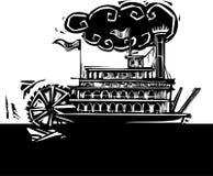 严厉的轮子河船在黑暗的河 免版税库存照片