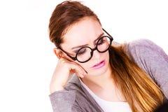 年轻严肃女商人认为 免版税库存照片