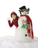 严肃的圣诞节雪球战斗 免版税图库摄影