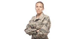 严肃的女性空军 免版税库存图片