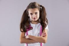 严肃的小女孩 免版税库存图片
