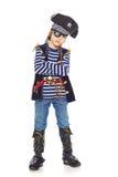 严肃的小男孩海盗 库存照片