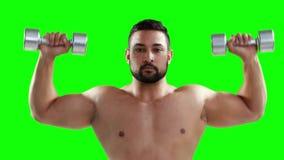 严肃的肌肉人举的哑铃 股票录像