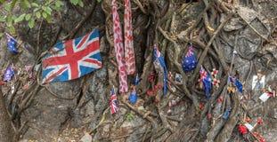严酷的苦难通过臭名远扬的缅甸对泰国死亡铁路,在世界大战2期间,数千联盟的POWs死 免版税库存照片
