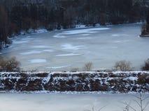 严重冬天 结冰的湖,池塘,河 不生叶的结构树 阴沉的结冰的冬天天气预报 库存照片