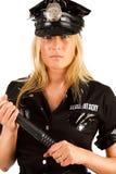 严重照片的女警 免版税库存图片