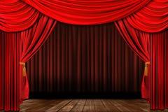 严重的典雅的被塑造的老红色阶段剧院 向量例证