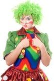 严重的女性小丑 免版税库存照片