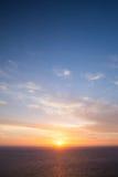 严重的日落 海角Keri,扎金索斯州 免版税库存照片