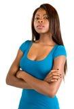 严重非洲裔美国人的可爱的夫人 免版税图库摄影
