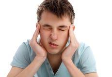 严重头疼的偏头痛 免版税库存图片
