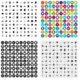 100个不同战略象被设置的传染媒介 库存图片