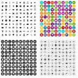 100个不同支持象被设置的传染媒介 免版税库存图片