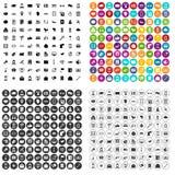 100个不同智能手机象被设置的传染媒介 免版税库存照片