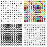 100个不同演艺界象被设置的传染媒介 库存图片