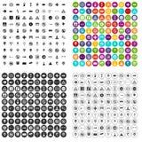100个不同路标象被设置的传染媒介 库存照片