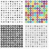 100个不同软件象被设置的传染媒介 库存照片