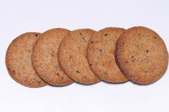 整个五谷小麦面粉饼干 库存照片