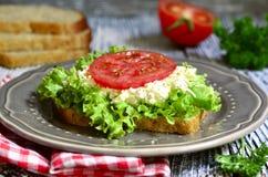 从整个五谷面包的三明治用乳酪和菜 免版税库存照片
