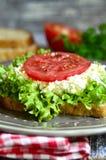 从整个五谷面包的三明治用乳酪和菜 免版税图库摄影