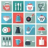 20个五颜六色的光滑的图标厨房集合器物 库存照片