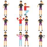 个人健身教练员漫画人物设置了用不同的情况 举行与人的辅导员训练 皇族释放例证