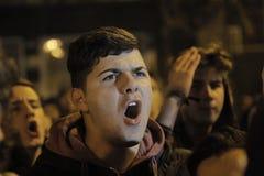 25000个人抗议在布加勒斯特请求正义 库存图片