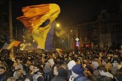 25000个人抗议在布加勒斯特请求正义 库存照片