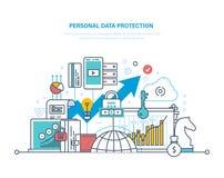 个人数据保护 信息,安全的数据库的保存和机密 向量例证