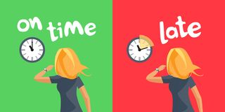 个人的时间管理准时和晚 免版税库存照片