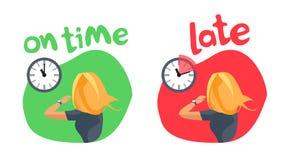 个人的时间管理准时和晚 库存图片