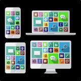 个人计算机、膝上型计算机、片剂和手机 免版税图库摄影