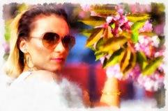 个人计算机一朵美丽的妇女和花的水彩例证与太阳镜 库存照片