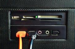 个人计算机的卡片阅读机聚集与被连接的两USB缆绳 免版税库存图片