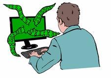 从个人计算机的触手 免版税库存照片