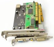 个人计算机的PCI和AGP看板卡从前面 免版税库存照片