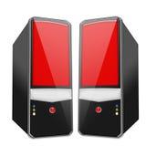个人计算机红色孪生 免版税库存图片