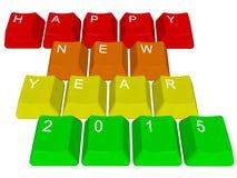 个人计算机锁上新年快乐2015年 库存图片