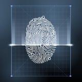 个人证明的指纹生物统计的扫描 安全传染媒介背景例证 库存例证