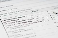 个人财政决算财产形式 免版税库存照片
