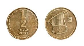 0,5个以色列人锡克尔硬币 在一个空白背景的查出的对象 免版税库存照片